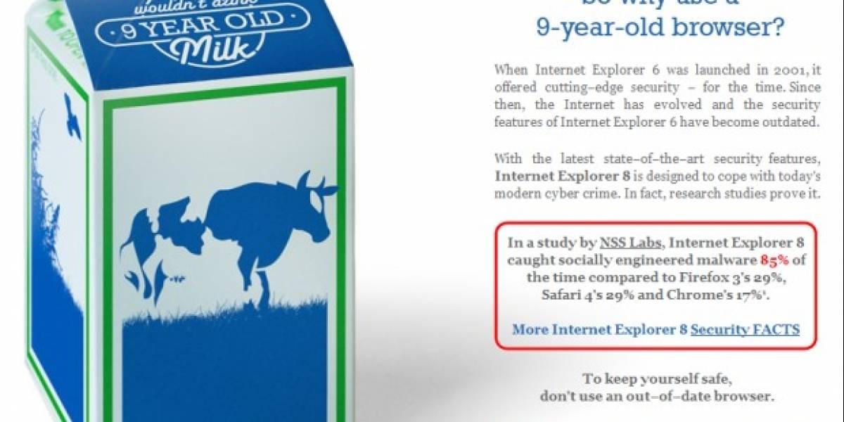 Microsoft comparó a Internet Explorer 6 con leche agria