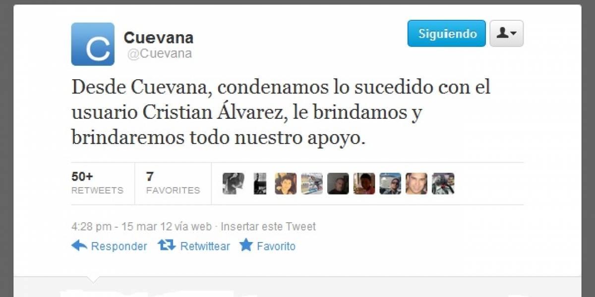 Cuevana expresa oficialmente su apoyo a chileno Christian Álvarez