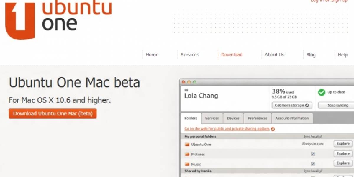 Ubuntu One de Canonical llega a Mac en forma de beta