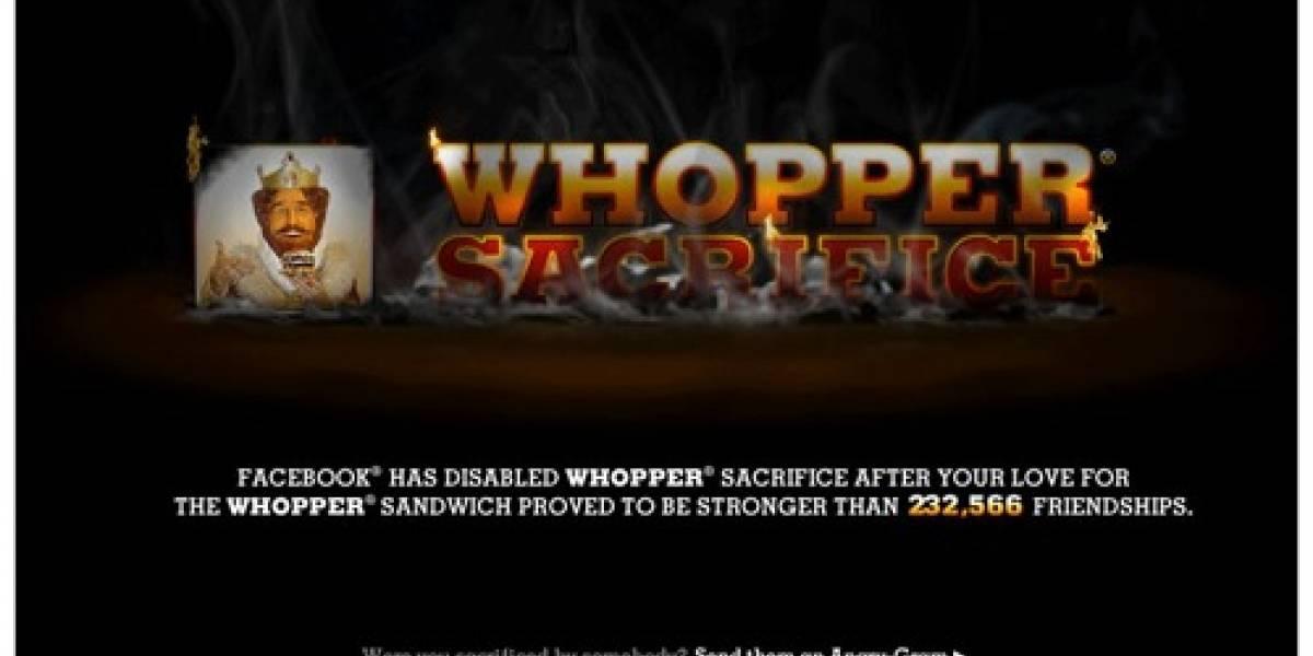 Aplicación de Burger King eliminada por Facebook