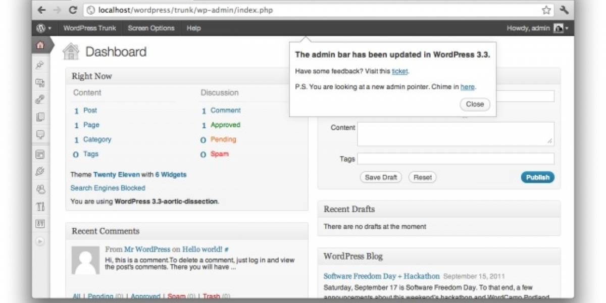 "WordPress 3.3 ""Sonny"" disponible para descarga con importantes mejoras"