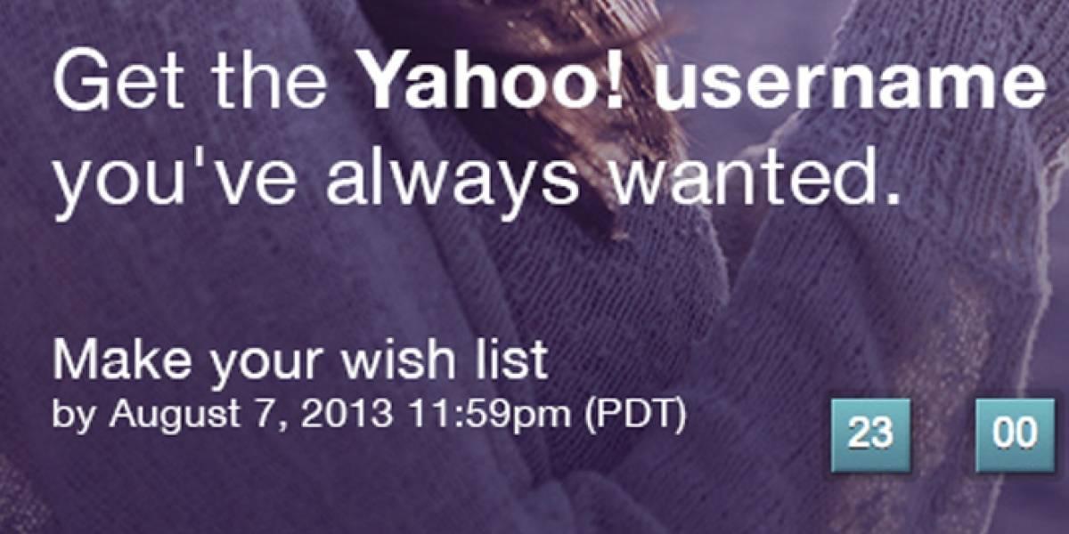 Yahoo! abre proceso de postulación para hacerse con nombres de usuario inactivos