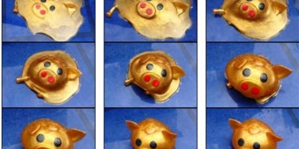 El chancho de juguete que se regenera
