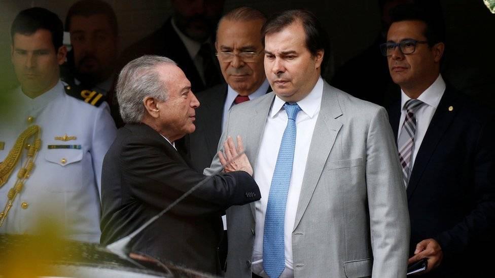 Presidente Michel Temer e o presidente da Câmara dos Deputados Rodrigo Maia