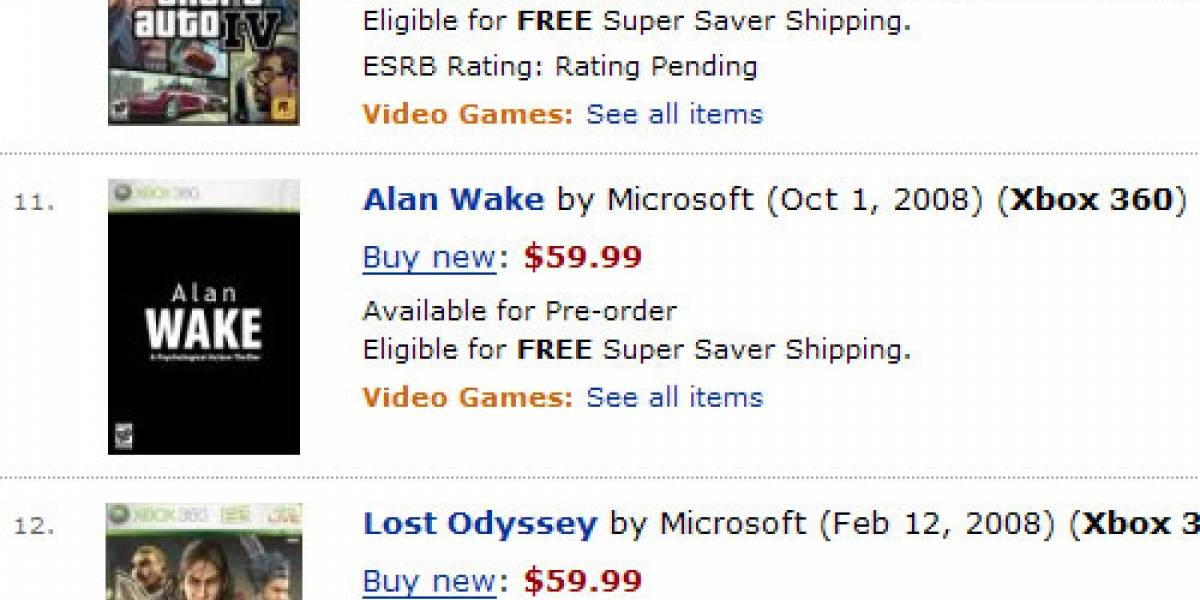 Gears of War 2 en Noviembre y Alan Wake en Octubre... según Amazon.
