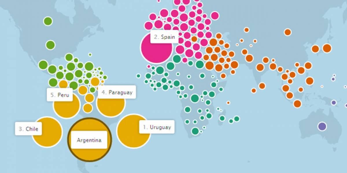 Facebook lanza mapa mundial de amistades por países