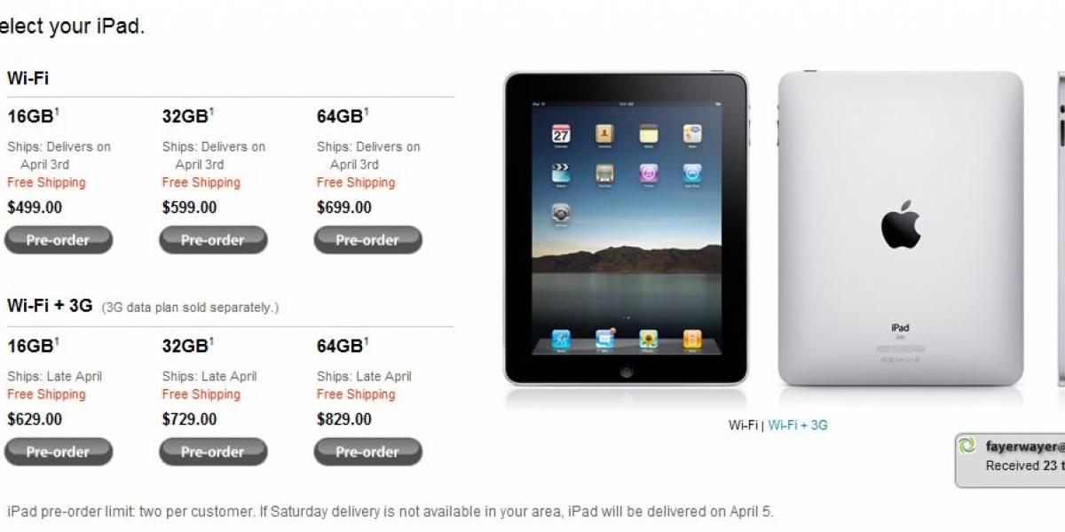 Comenzaron los pedidos anticipados del iPad