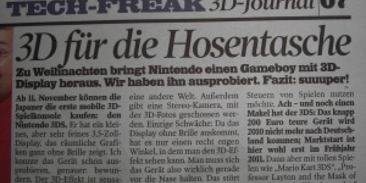 Futurología: Periódico alemán filtra datos del lanzamiento del 3DS