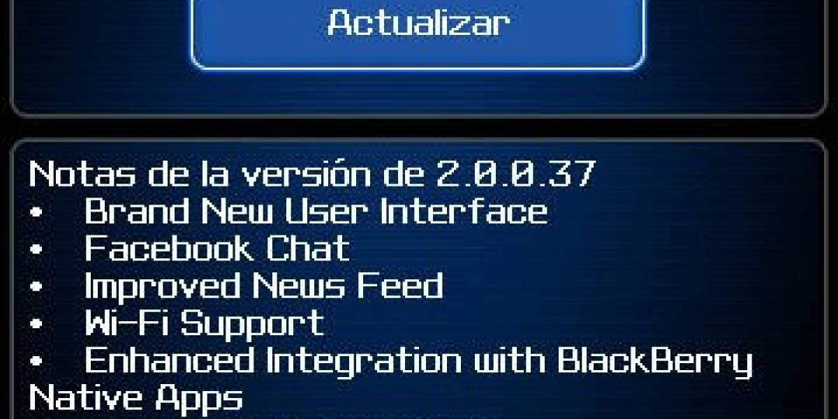 Facebook 2.0 para BlackBerry disponible para descarga
