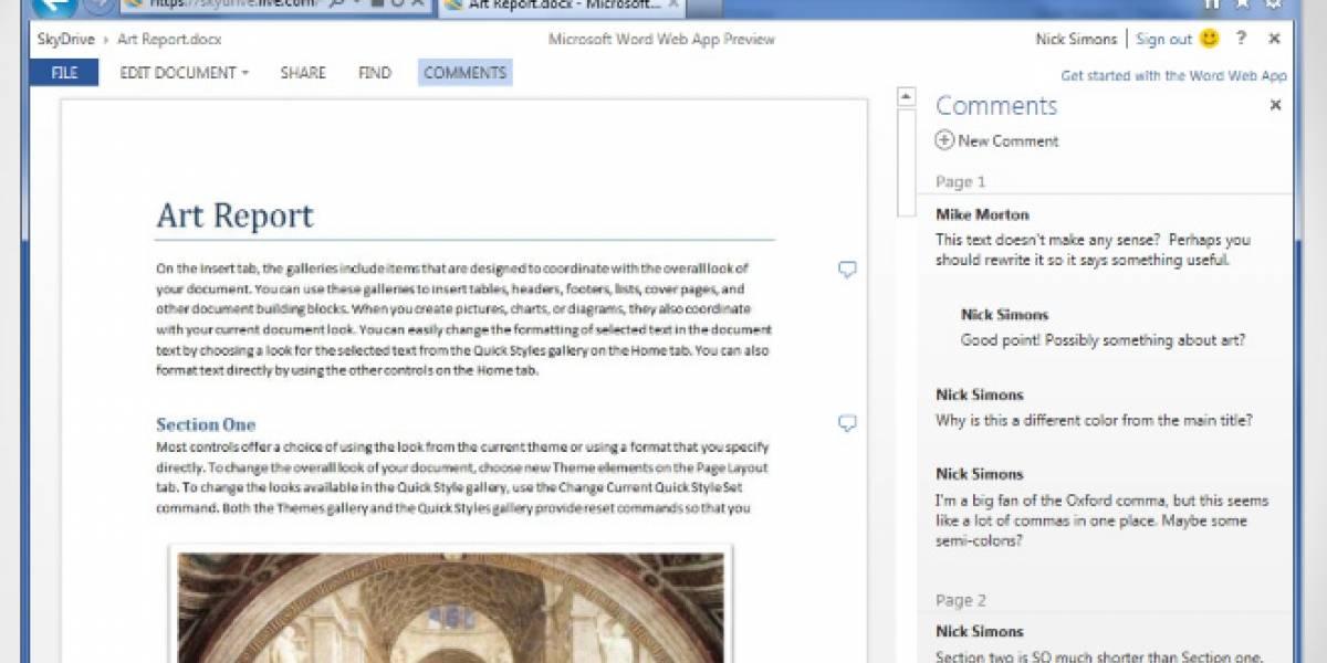 Microsoft actualiza la versión web gratis de Office