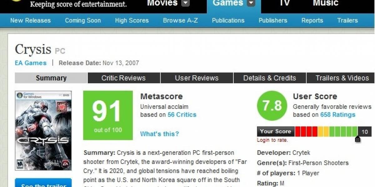 Crytek: llegar a un 90 en Metacritic con Crysis 2 es muy complicado