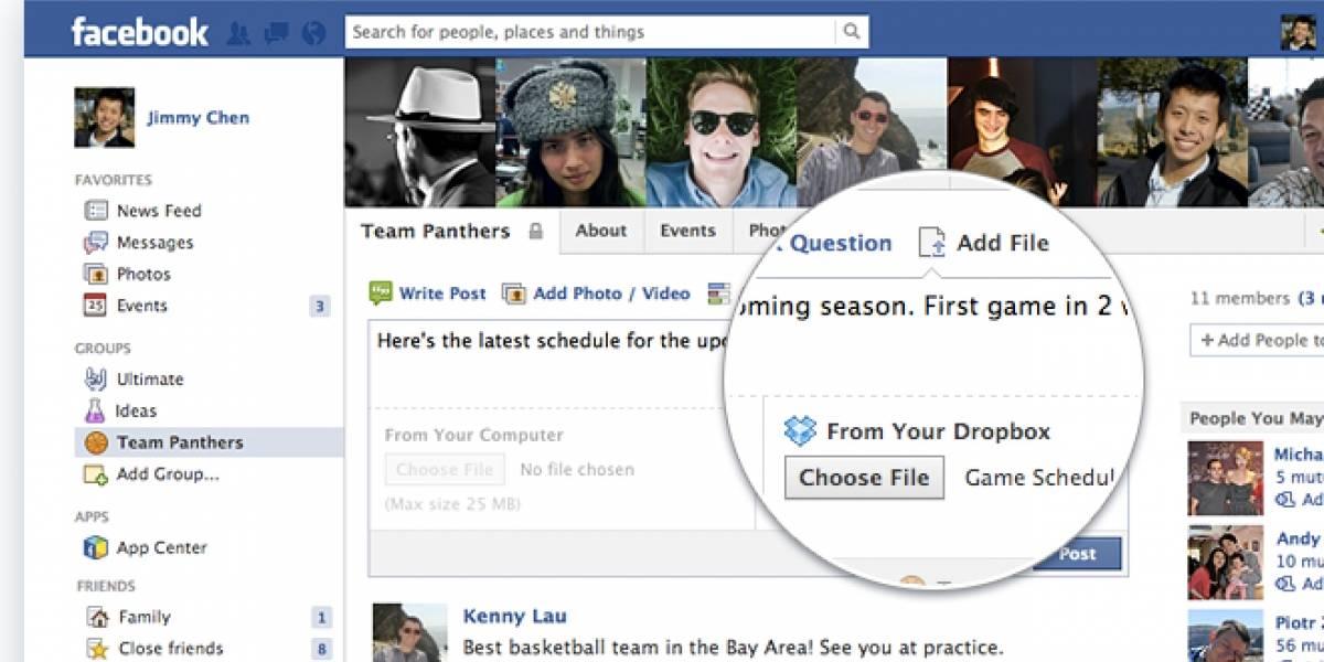 Dropbox se integra directamente en Facebook