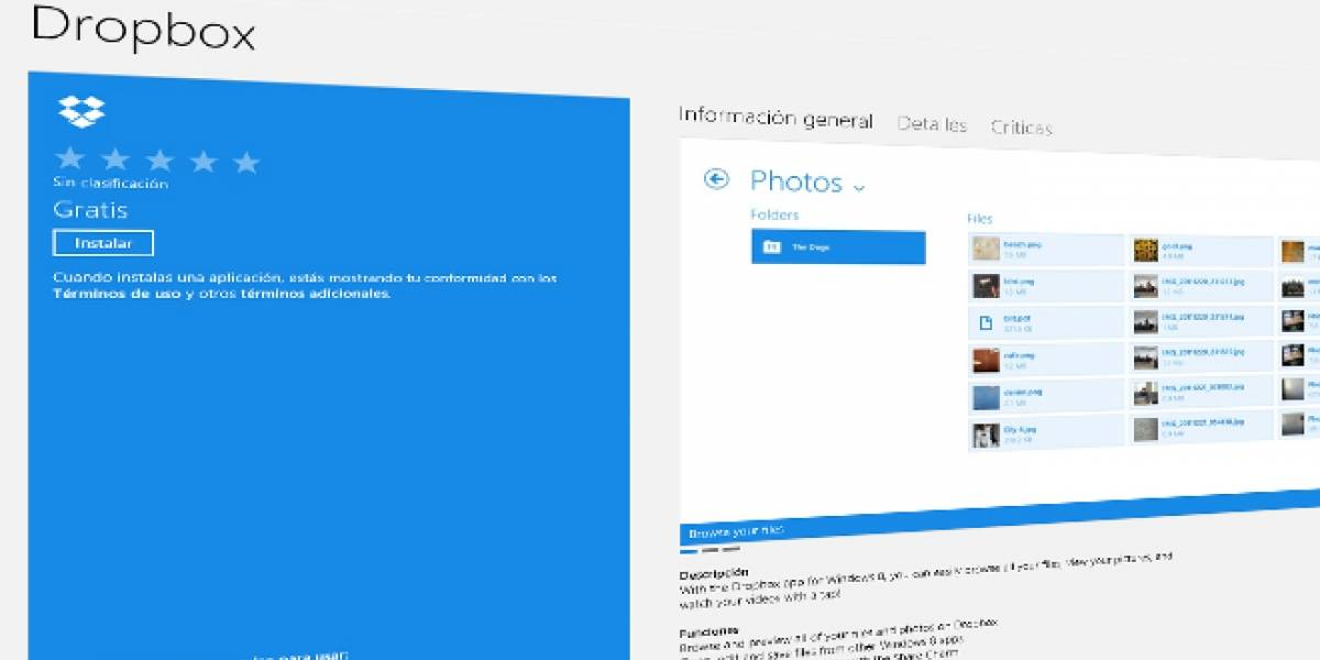 Dropbox lanza aplicación para Windows 8 en Modern UI