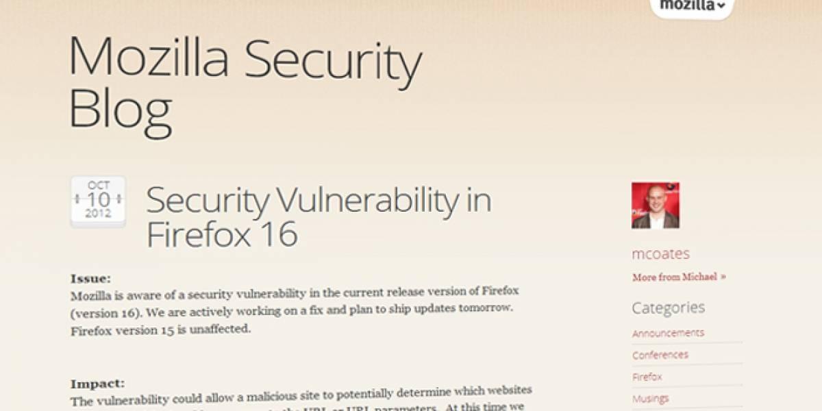 Mozilla deja de distribuir Firefox 16.0 por una vulnerabilidad de seguridad