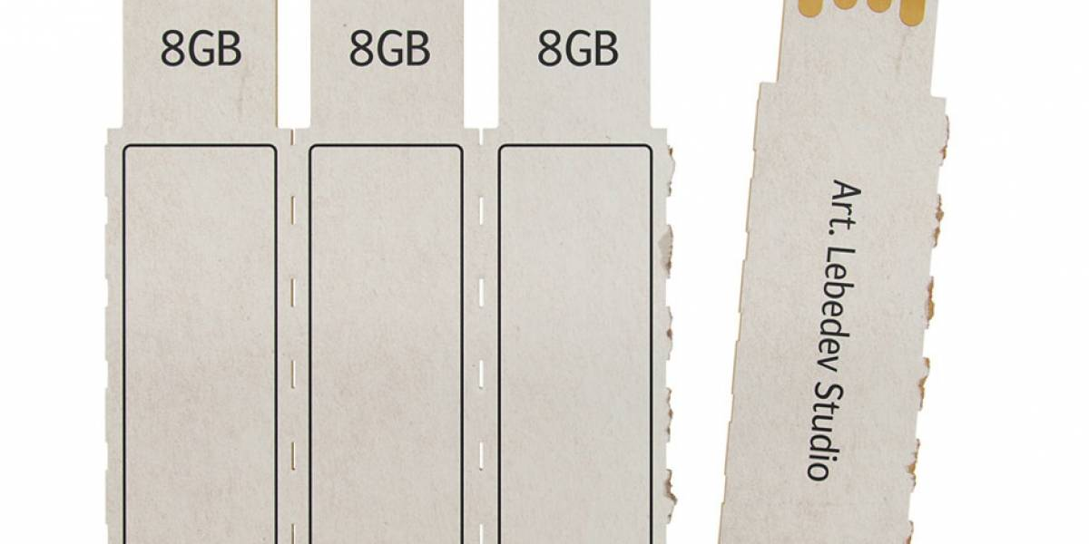 Una memoria USB de cartón para guardar todos los archivos desechables