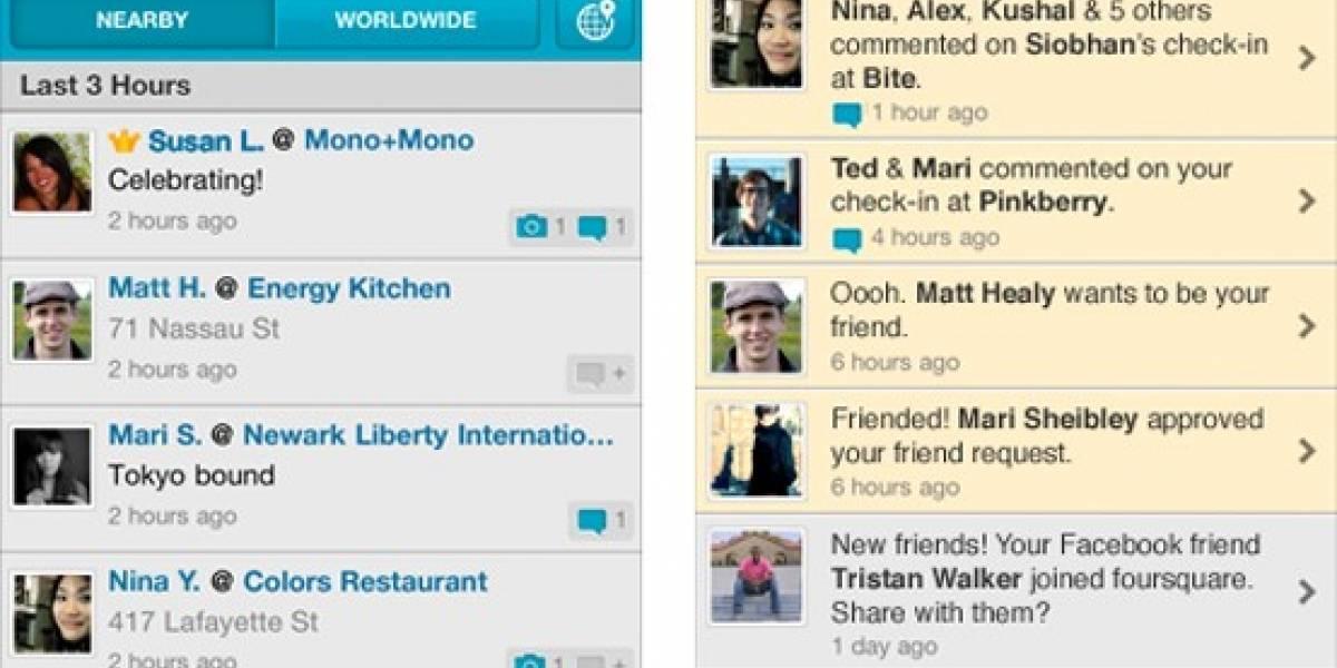 Foursquare para iPhone ahora incluye notificaciones
