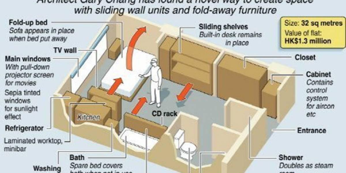 Domestic Transformer: Concepto de apartamento convertible para espacios pequeños