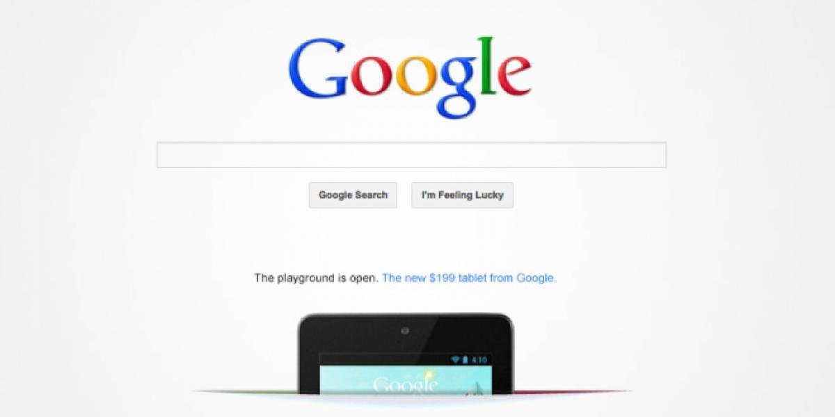 Google pone publicidad del Nexus 7 en la portada del buscador
