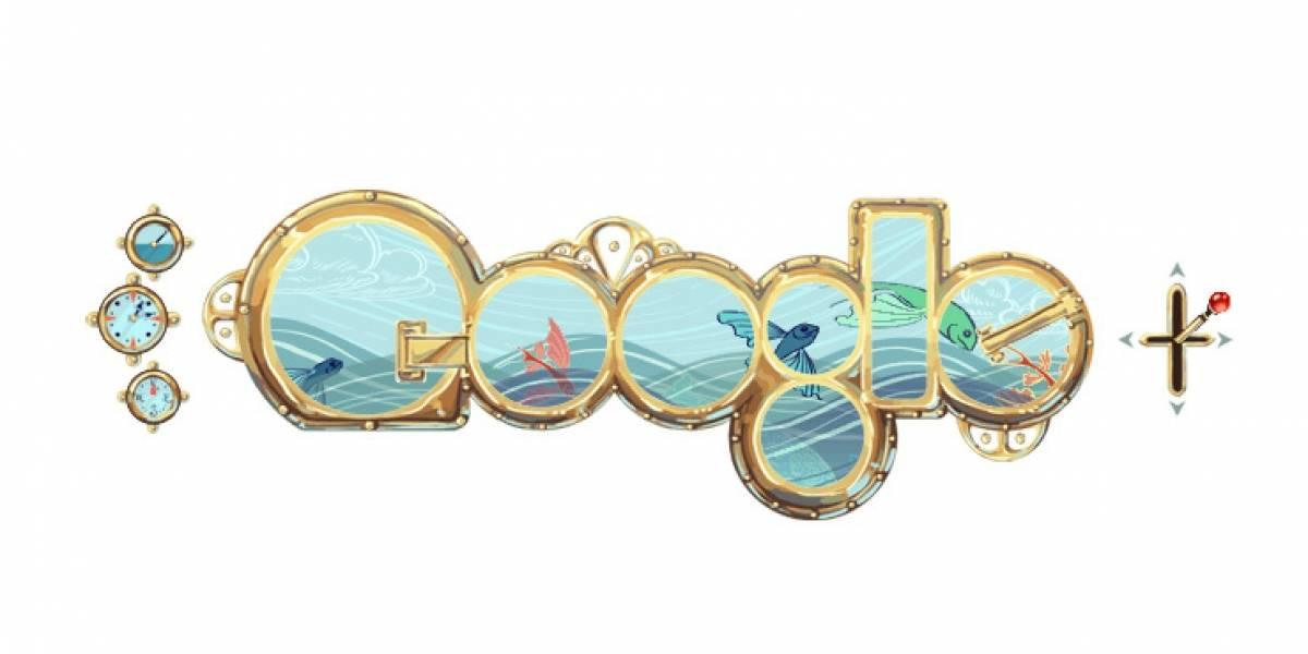 Google celebra el natalicio de Jules Verne con un doodle submarino