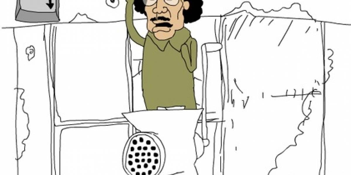 Apoya a Libia y descuartiza a Gadafi como hamburguesa