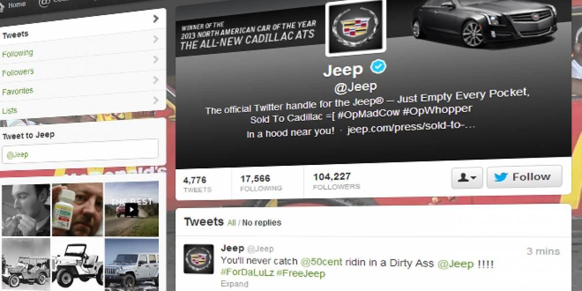 Ahora secuestran la cuenta en Twitter de la marca Jeep