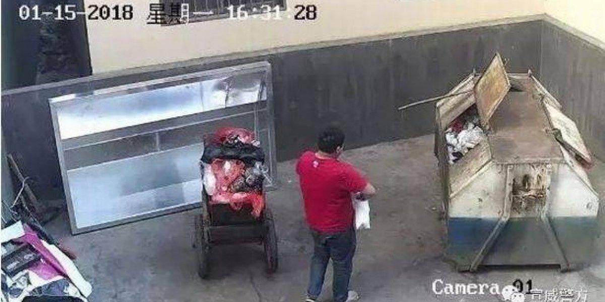 Câmeras flagram pai jogando recém-nascida em lata de lixo; veja