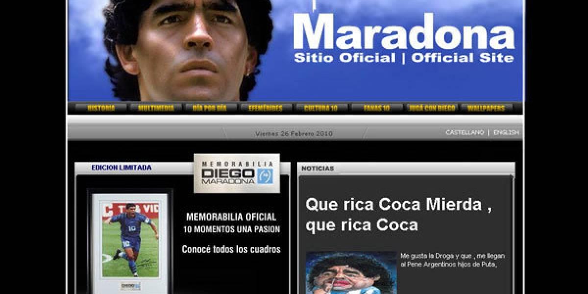 Hackean sitio web de Diego Maradona