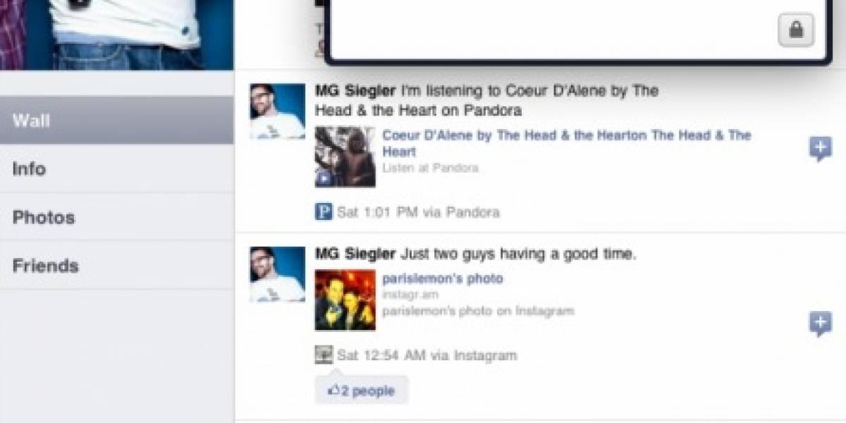 Facebook para iPad estaba ahí fuera