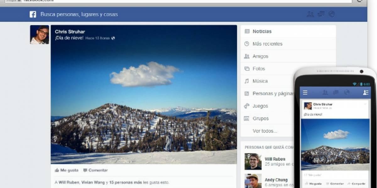 Así se ve el nuevo News Feed de Facebook