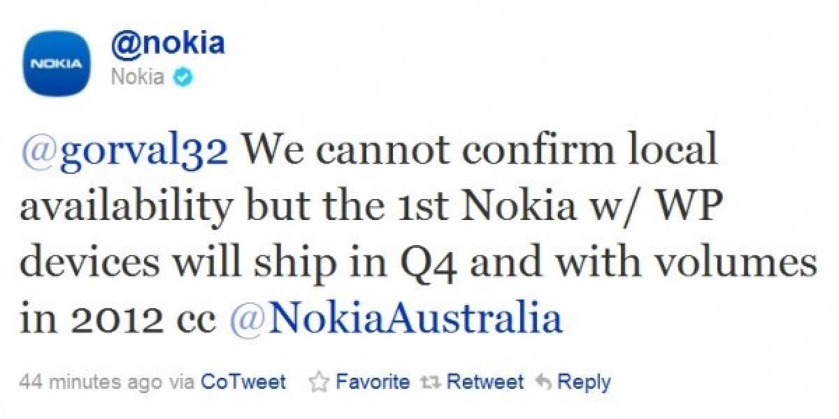 Nokia confirma que el primer equipo con Windows Phone llegará a fines de este año