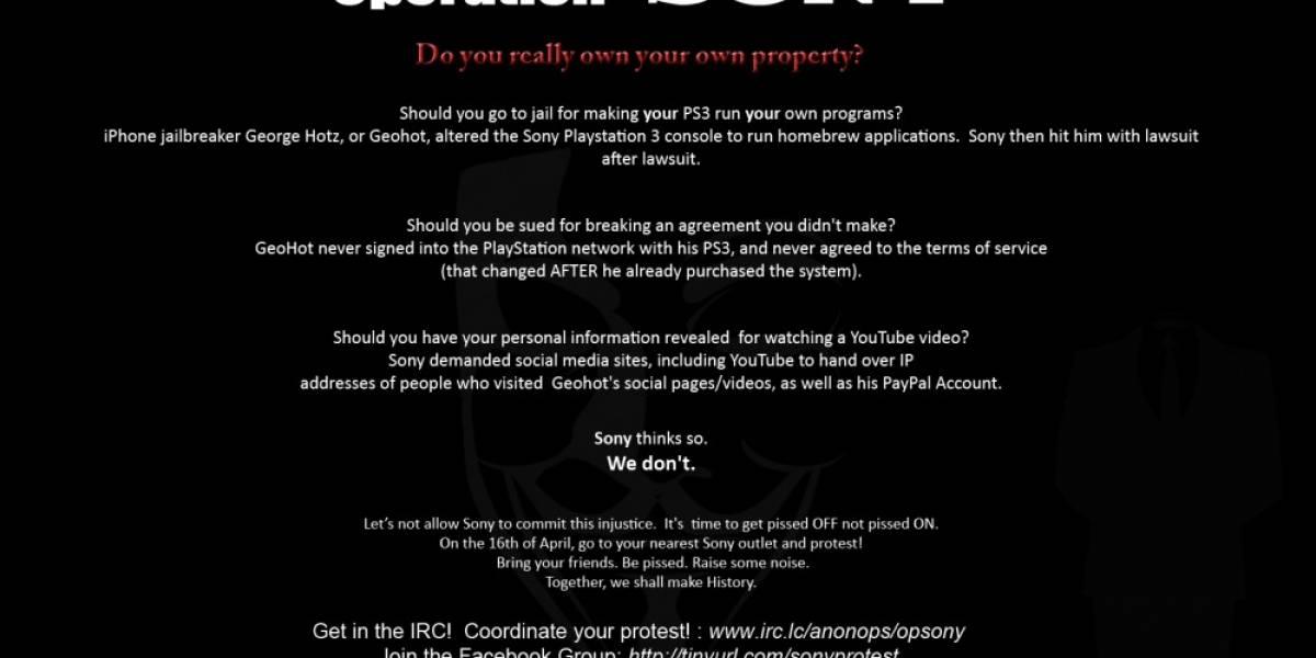Anonymous llama a boicotear Sony este 16 de Abril