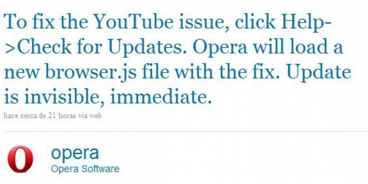 Opera resuelve problema para cargar YouTube