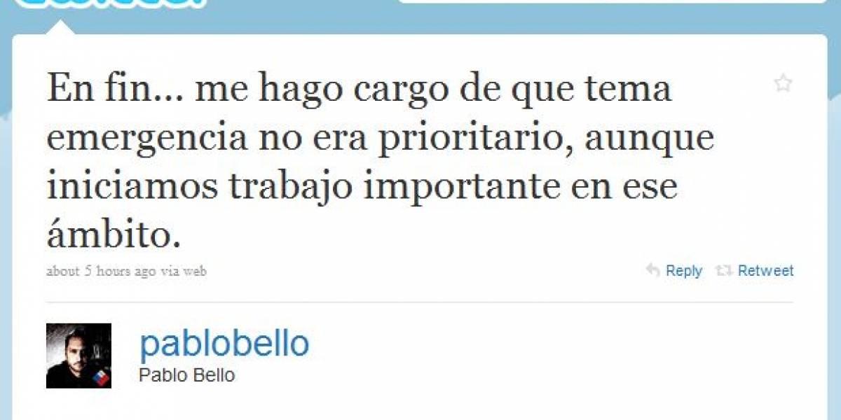 Pablo Bello se defiende por Twitter tras críticas a su gestión