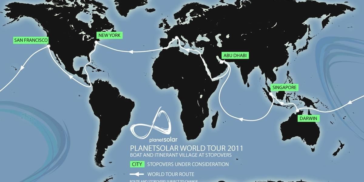 PlanetSolar es el barco solar más grande del mundo con 500 m2 de paneles