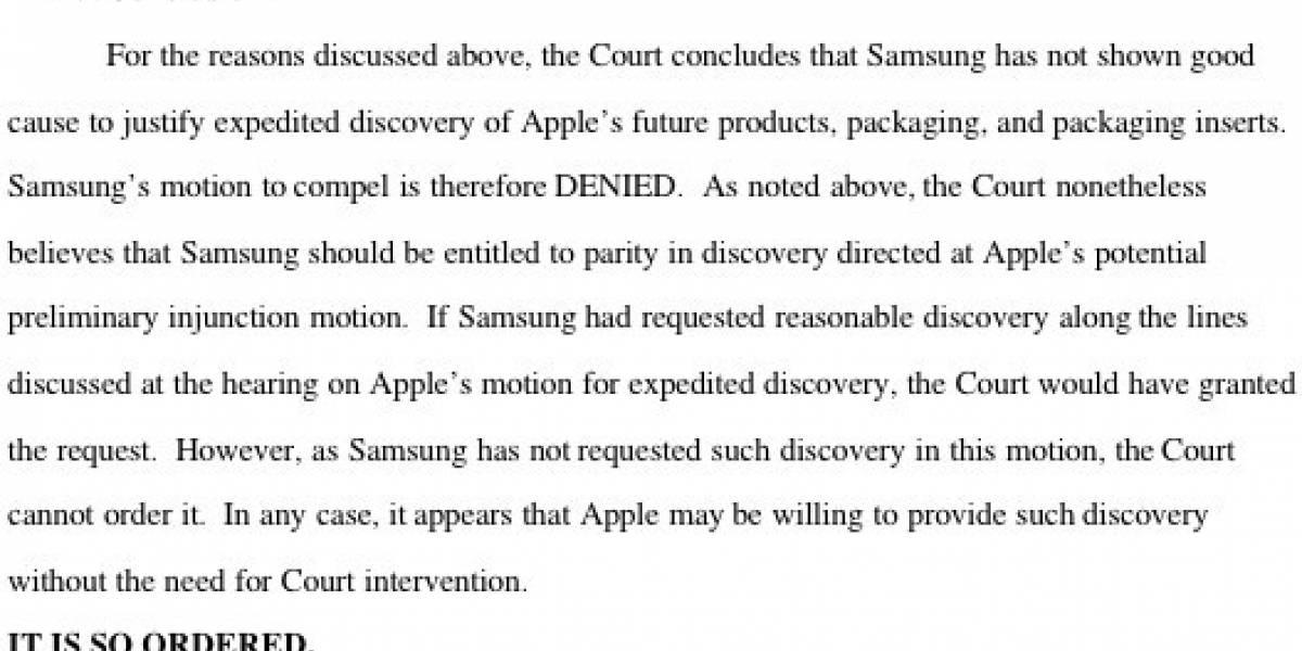 Samsung no podrá ver las muestras de los nuevos productos de Apple