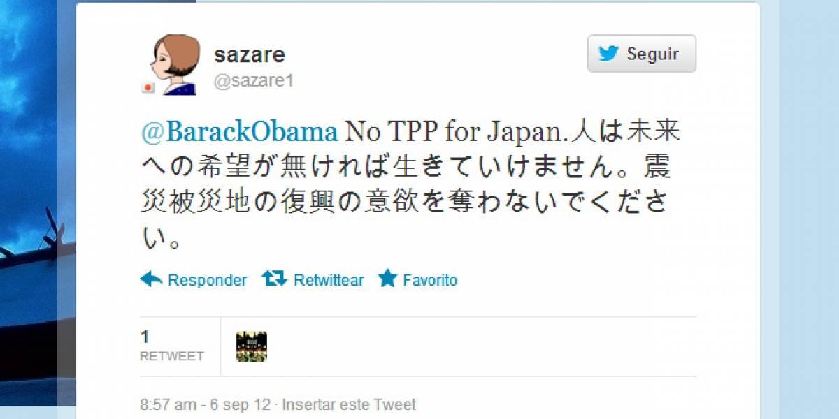 Mujer japonesa lanza campaña de spam a la cuenta de Obama para impedir la firma del TPP