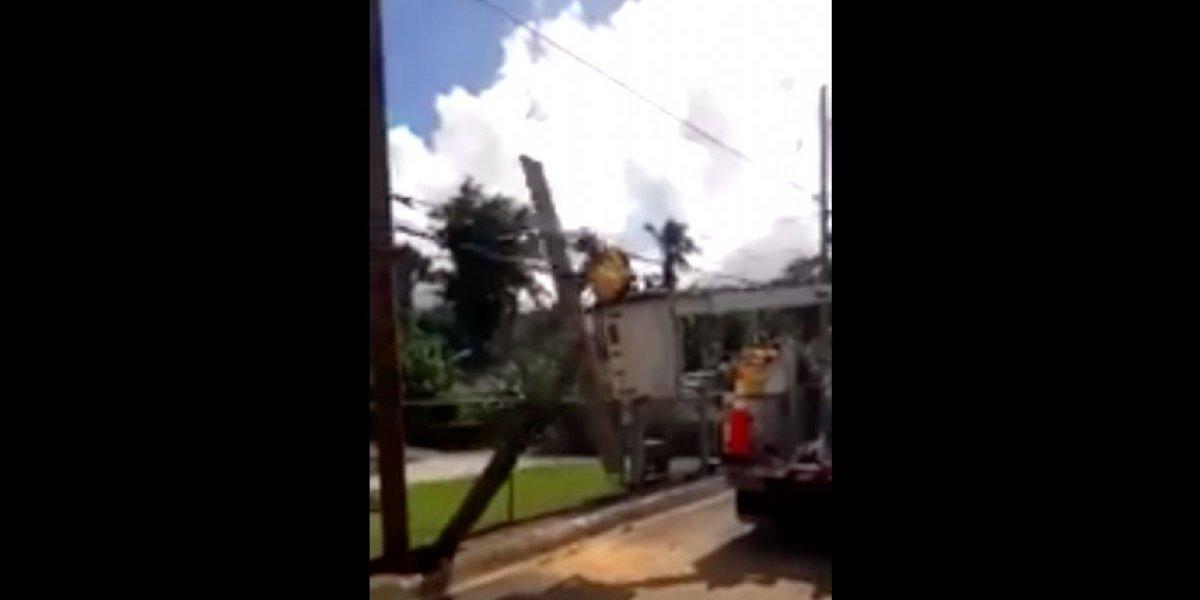 Poste cae y golpea a empleado de empresa de telecomunicaciones