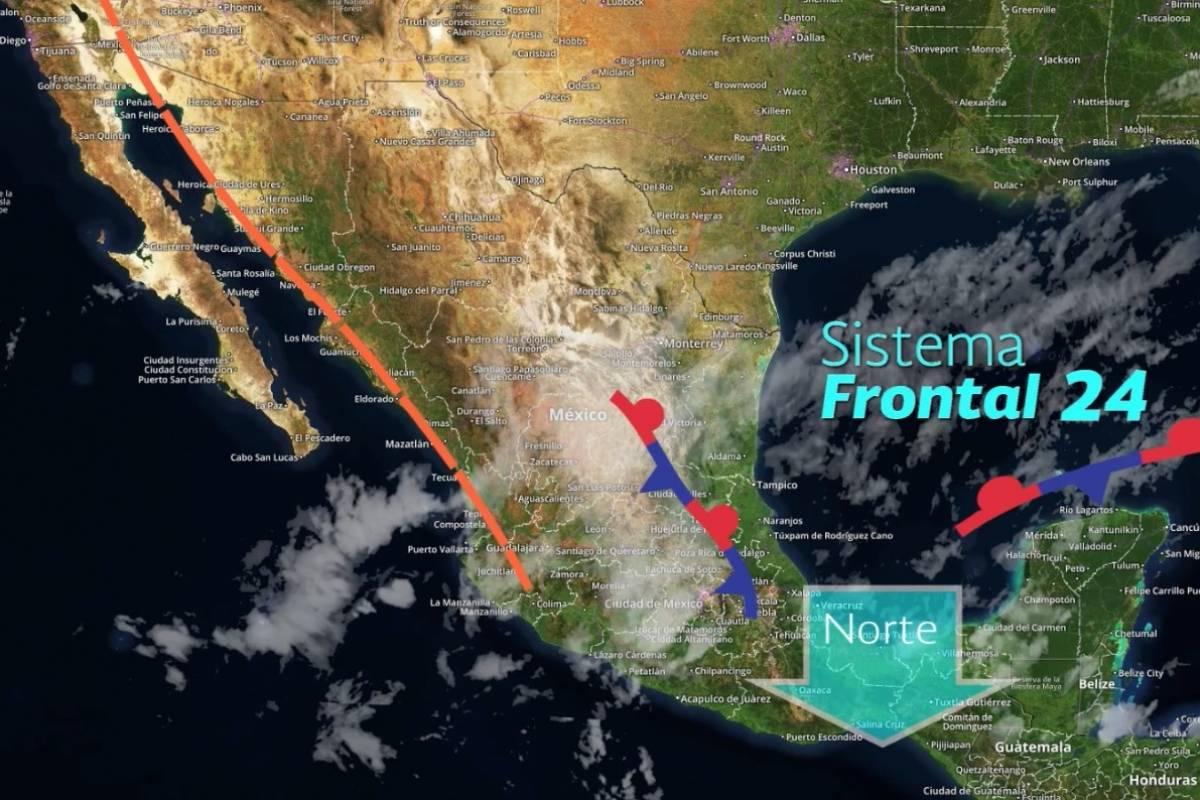 Frente Frío 24 provocará lluvias en la mayor parte del país