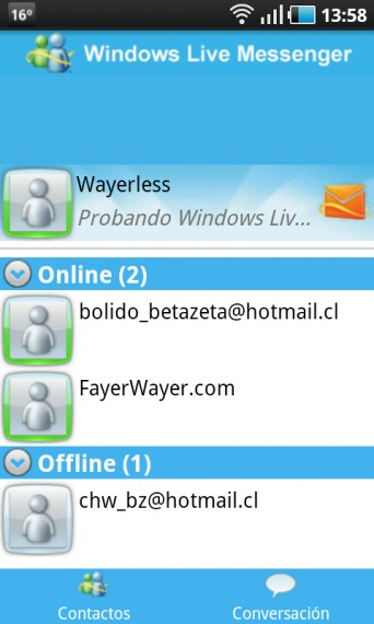 Windows Live Messenger para Android