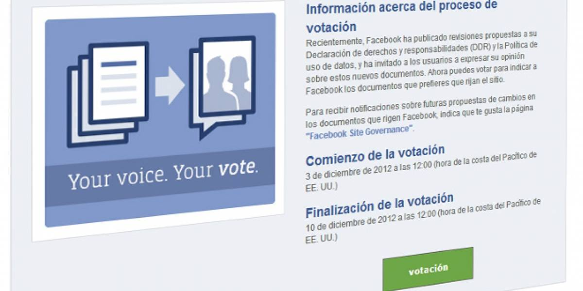 Usuarios de Facebook tienen 7 días para decidir si mantienen su derecho a votar
