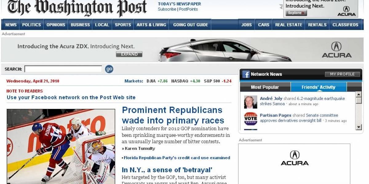 El diario Washington Post integra Facebook en su web