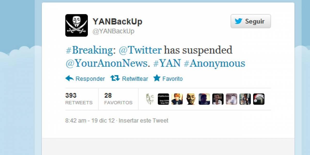 Twitter suspende la cuenta @YourAnonNews (Actualizado: Fue reestablecida)