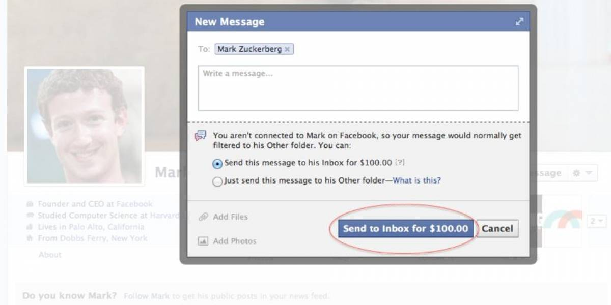 Facebook cobra US$ 100 por enviarle un mensaje a Mark Zuckerberg