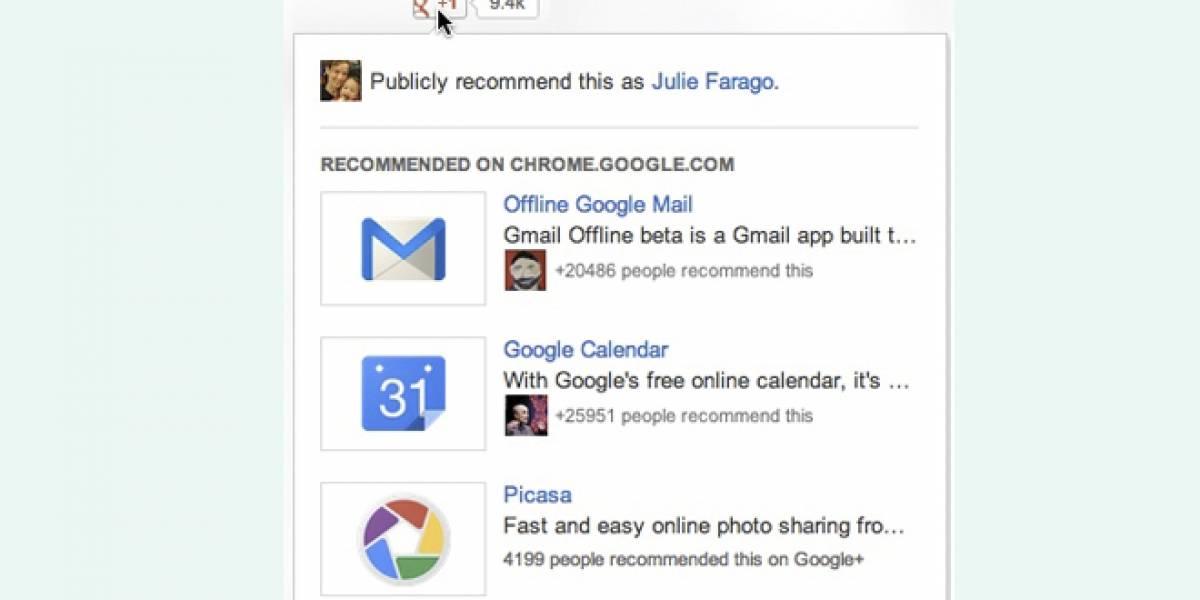 +1 de Google+ sugerirá contenido cada vez que pasemos el cursor sobre el botón