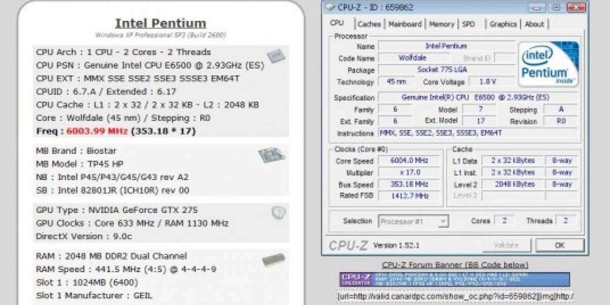 Pentium E6500K pasa la barrera de los 6 GHz