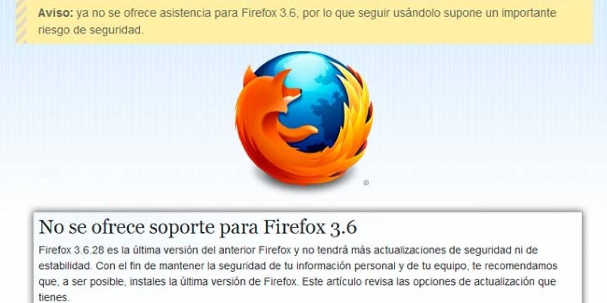 Firefox 3.6 llegó a su fin, se actualizará automáticamente a la versión 12