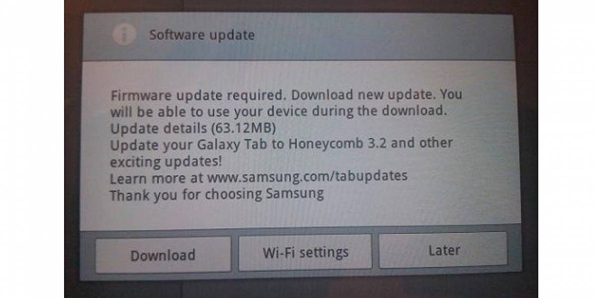Samsung Galaxy Tab 10.1 se actualiza a Android 3.2 pero tiene algunos problemas