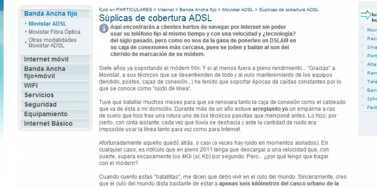 Cliente indignado por el servicio de ADSL 'ataca' la web de Movistar España