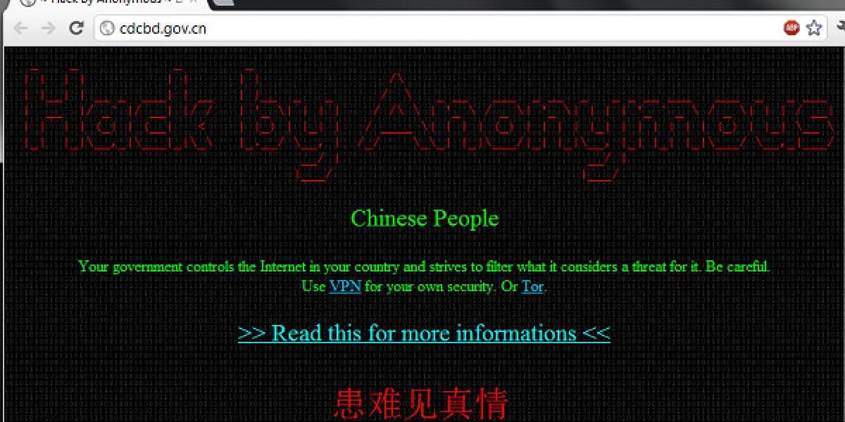 Anonymous ataca un centenar de sitios del gobierno de China