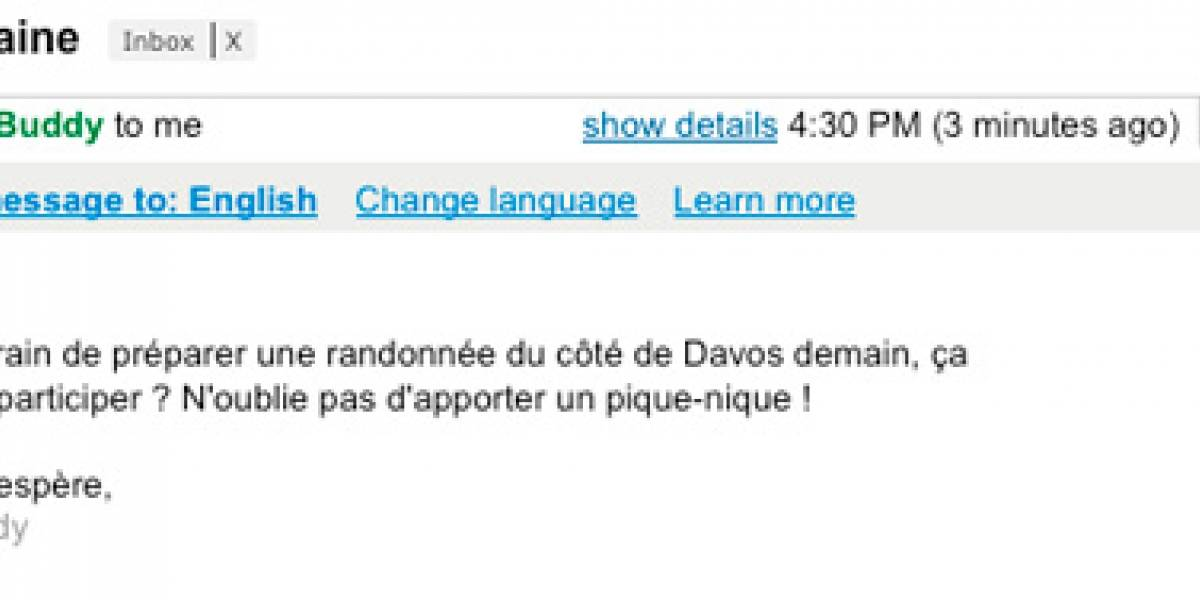 Gmail permite traducir automáticamente tus mensajes